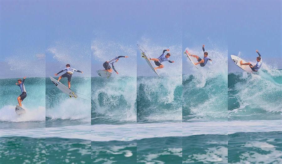 Een burst foto van een surfer op zee.