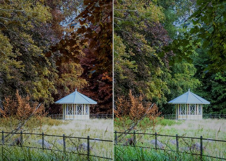 Links een foto van een klein kapel in een bos, zonder fotoshop. Rechts met fotoshop.